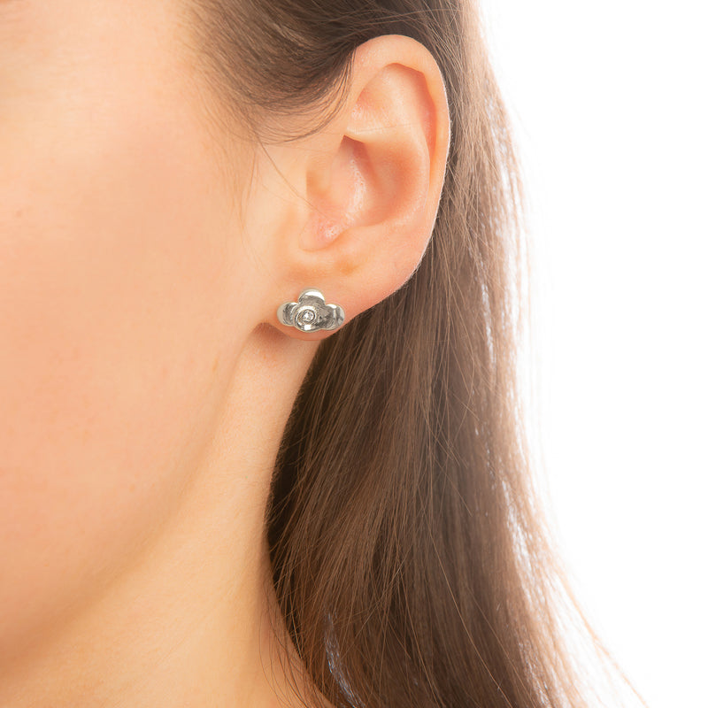 Model_Wearing_Disney_Mulan_Earrings_White_Gold_Warrior_Symbol