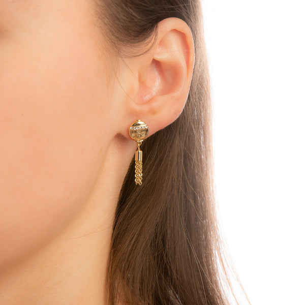 Model_Wearing_Disney_Mulan_Earrings_Yellow_Gold_Mini_Lanterns