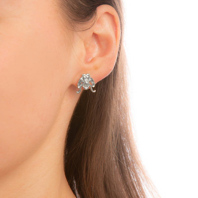 Model_Wearing-Disney_Mulan_Mushu_White_Gold_Stud_Earrings