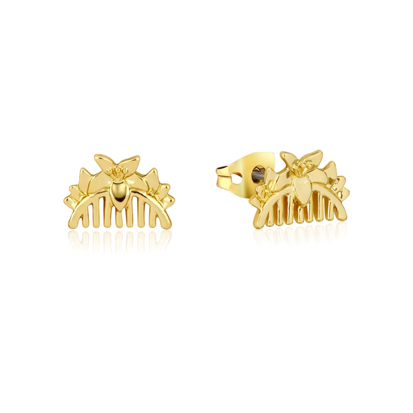Disney_Princess_Mulan_Comb_Stud_Earrings_Yellow_Gold_Couture_Kingdom_DYE886