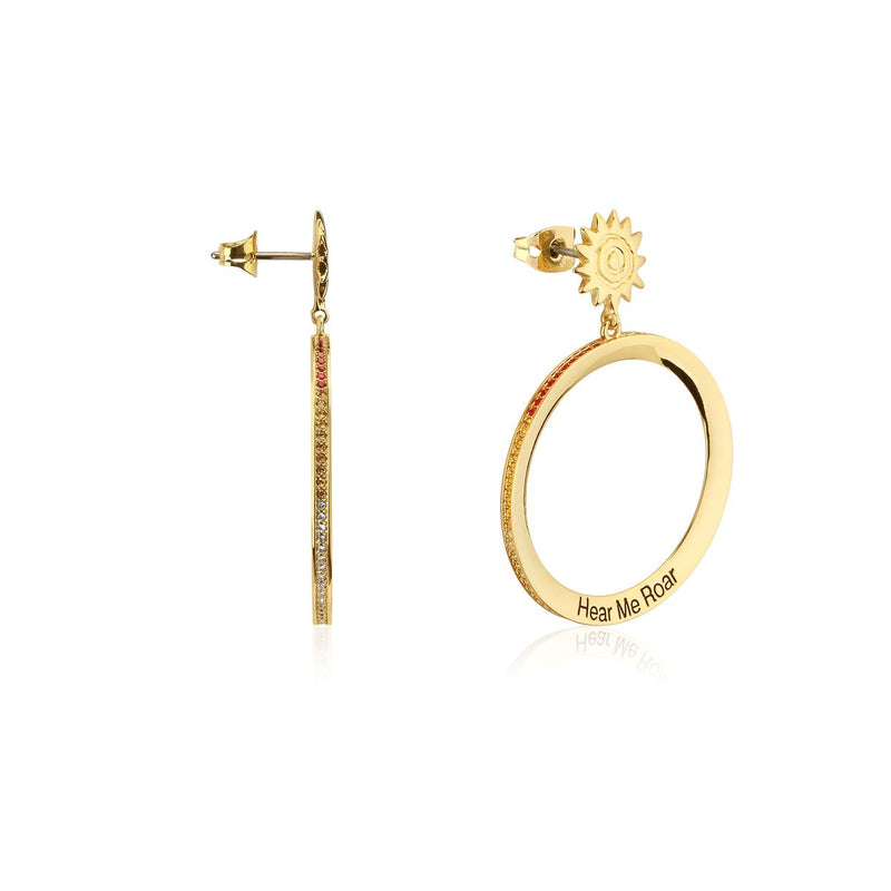Disney-The-Lion-King-Hear-Me-Roar-Crystal-Hoop-Earrings-Side-View-Couture-Kingdom-Yellow-Gold-DLYE230