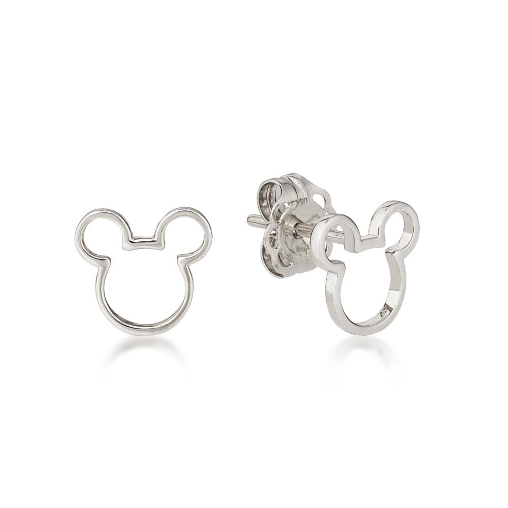 Disney Precious Metal Mickey Mouse Outline Stud Earrings
