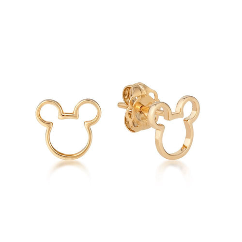 Disney Precious Metal Mickey Mouse Outline Stud Earrings - Disney Jewellery