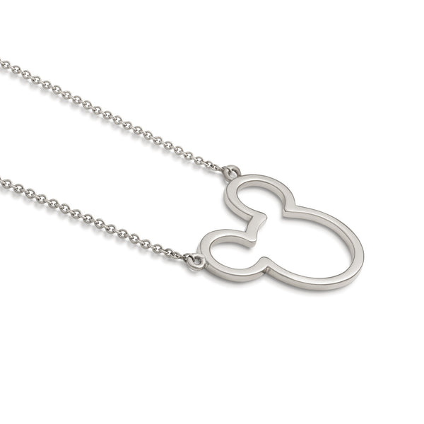 Disney Precious Metal Mickey Mouse Outline Necklace - Disney Jewellery
