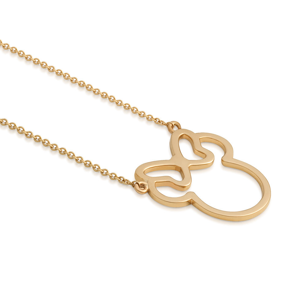 Disney Precious Metal Minnie Mouse Outline Necklace - Disney Jewellery