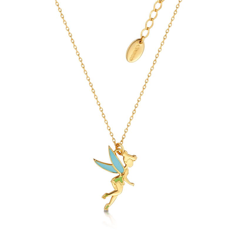 Sterling Silver Gold Plated Tinkerbell Enamel Necklace