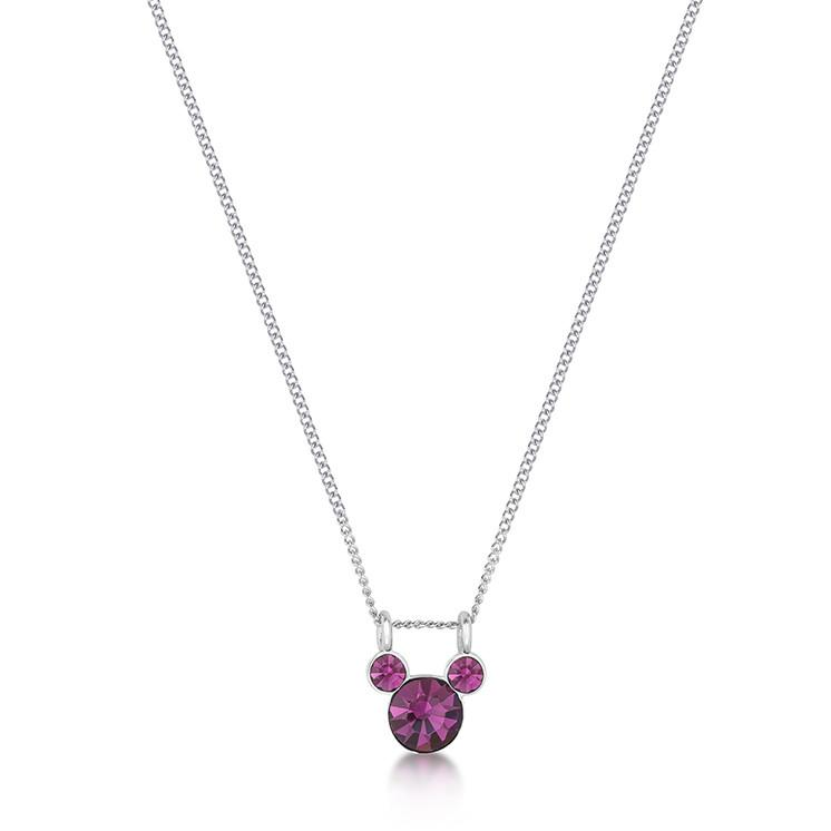 Disney Mickey February Birthstone Necklace - Disney Jewellery