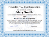 Emotional Support Animal ESA Certificate From Federal Service Dog Registration
