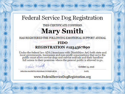Emotional support animal collection top dog products for Service registry