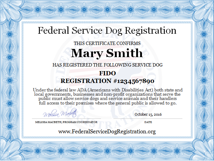 Service Dog Registration Digital Certificate Top Dog