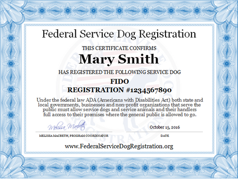 Service dog registration digital certificate top dog for Service registry