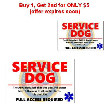 Buy 1, Get 2nd for ONLY $5* (offer expires soon) - Generic Service Dog Card