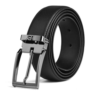 LUCHENGYI Men's Genuine Leather Belt Adjustable Casual Design, 35mm Wide With Gun-Black Removable Buckle, Black, 42