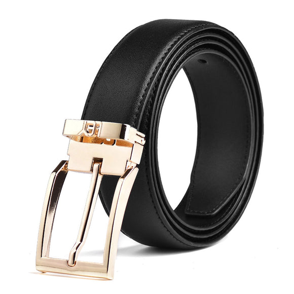 Adjustable Leather Belt for Men with Gold Buckle Fashion Design Gifts 1-3/8 Wide