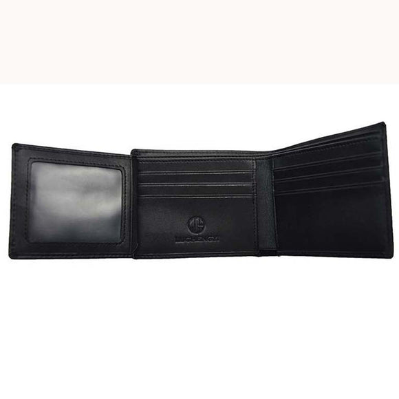 LUCHENGYI Men's Leather Wallet ID Credit Card Purse Clutch Trifold Hybrid Black
