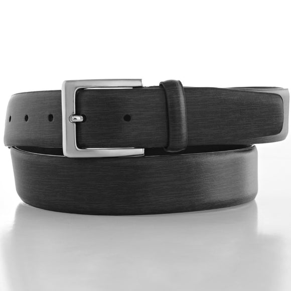 LUCHENGYI Men's Black Leather Belt for Suit