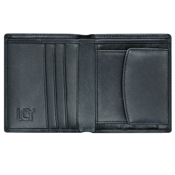 LUCHENGYI Men Genuine Leather Wallet with Coin Pocket