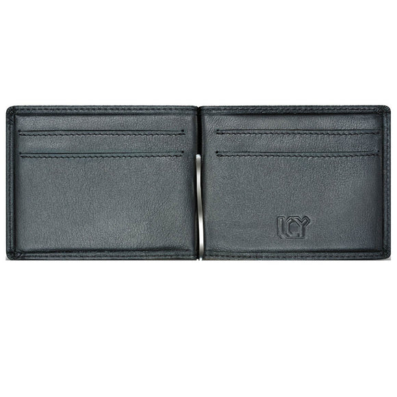 LUCHENGYI Men's Genuine Leather Money Clip Wallet with 4 Card Slots