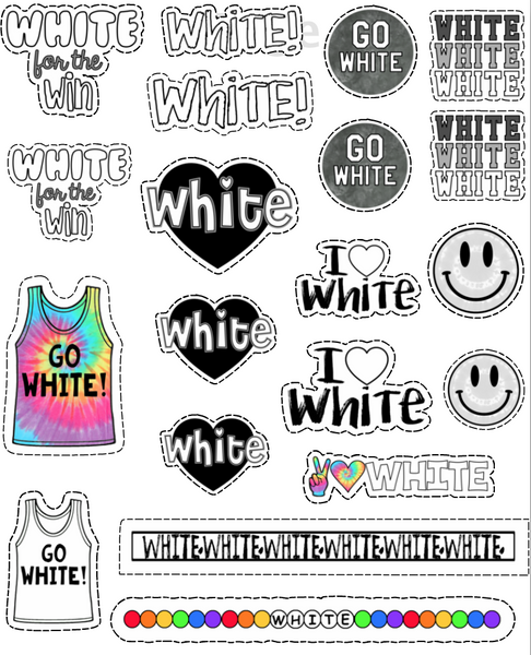 White Color War Tattoo Sheet