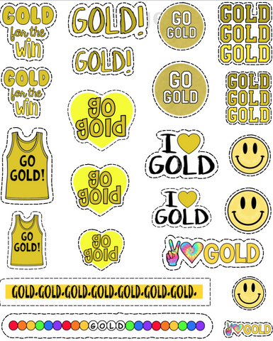 Gold Color War Tattoo Sheet