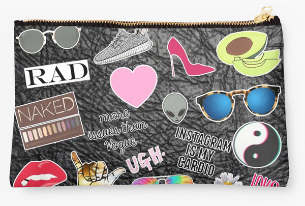 Faux Leather Patch Pouch