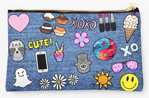 Girly Faux Denim Patch Pouch