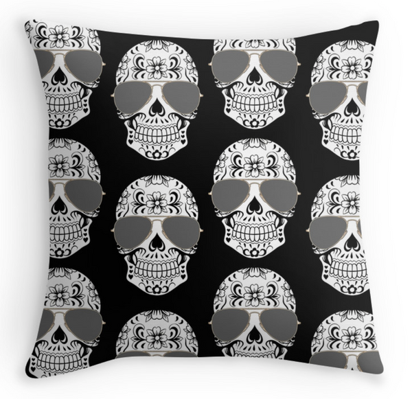 All Over Skull Pillow