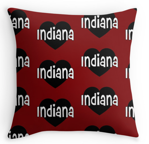 Indiana Repeat Heart Pillow
