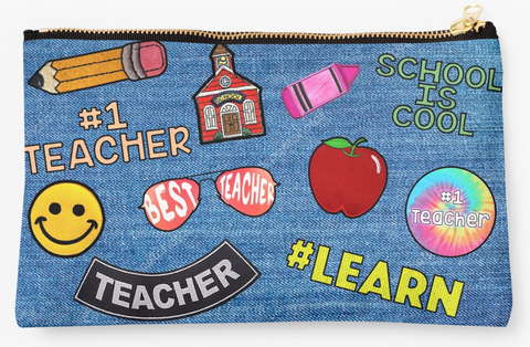 Faux Denim Patch Teacher Pouch