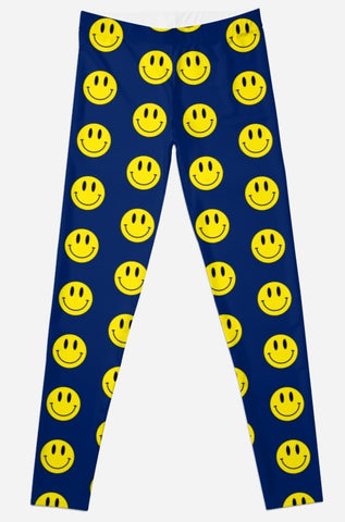 Blue/Gold Smiley Face Tailgate Leggings