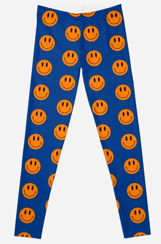 Blue/Orange Smiley Face Tailgate Leggings