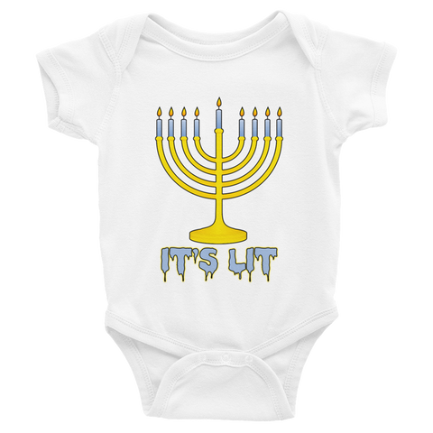 """It's Lit"" Menorah Hanukkah Baby Onesie"