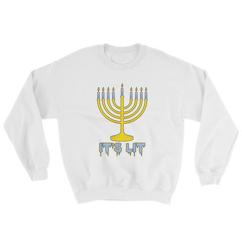 """It's Lit"" Menorah Hanukkah Crew Neck"