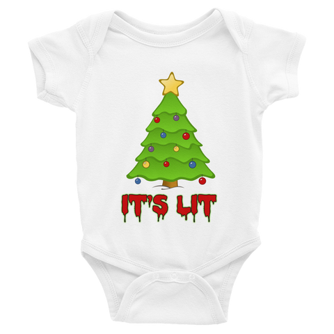 """It's Lit"" Christmas Tree Baby Onesie"