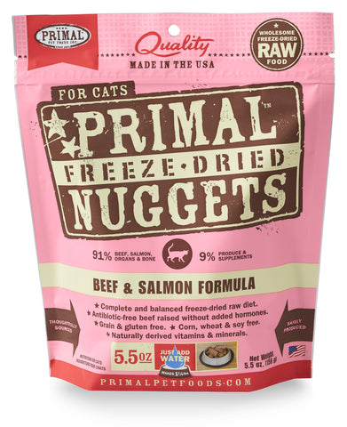 Primal Raw Freeze-Dried Feline Beef & Salmon Formula