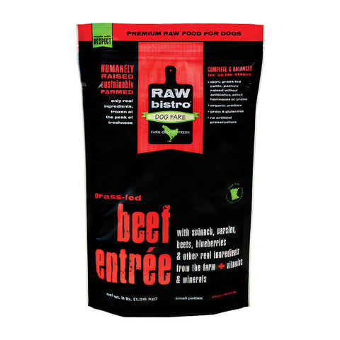 Raw Bistro beef 3 pound front of bag