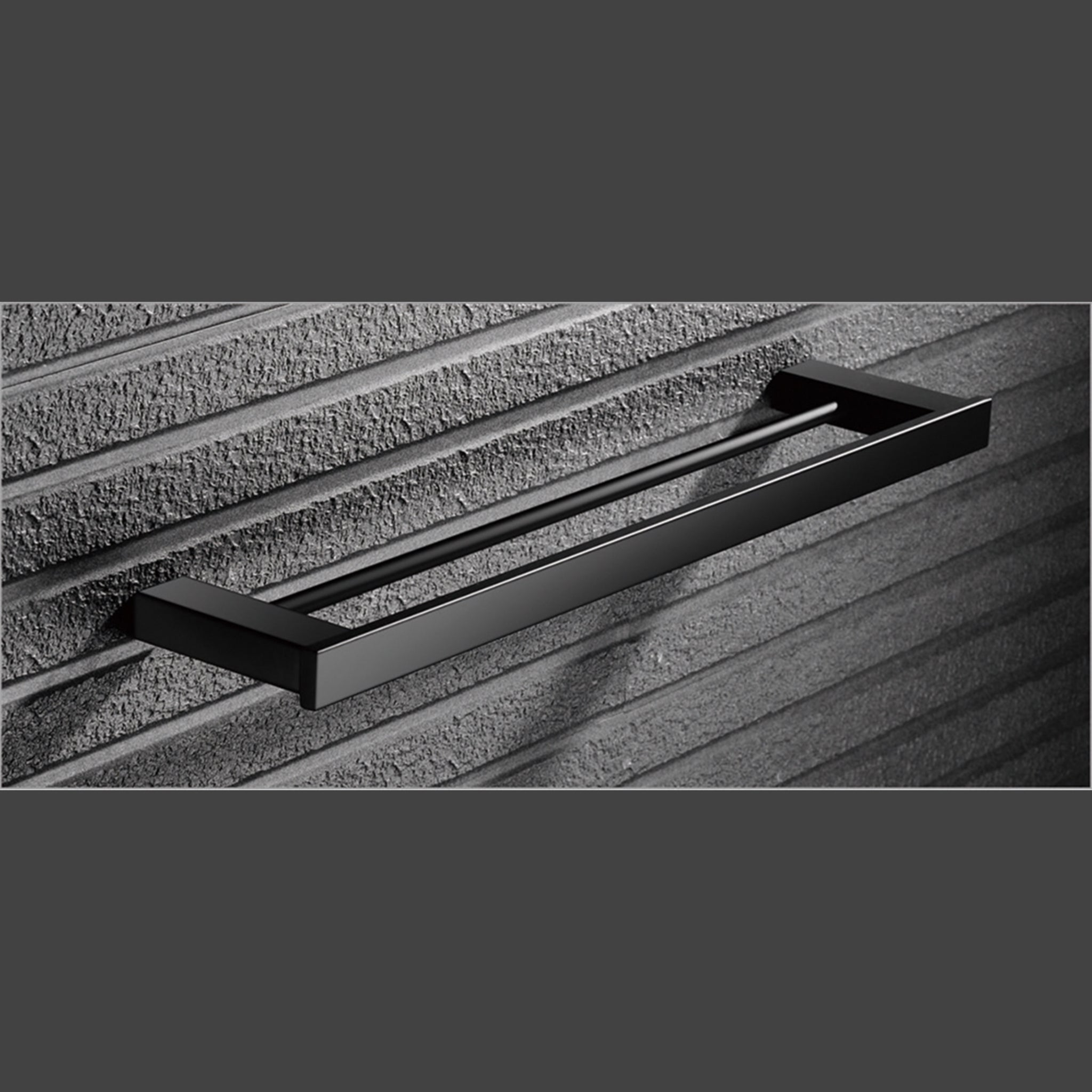 Bathroom BLACK Double Towel Bar