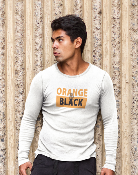 ORANGE & BLACK Men's Long Sleeve Tee