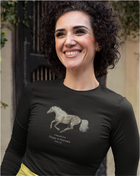 Running Horses A Benefit for Hope 4 Horses Ladies' Long Sleeve Tee