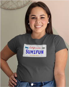 SUM1FUN California License Plate Ladies' Tee
