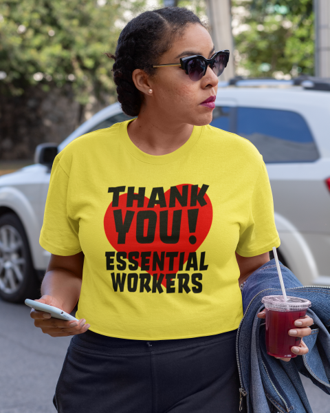 Thank You Essential Workers Red Heart Ladies' Tee