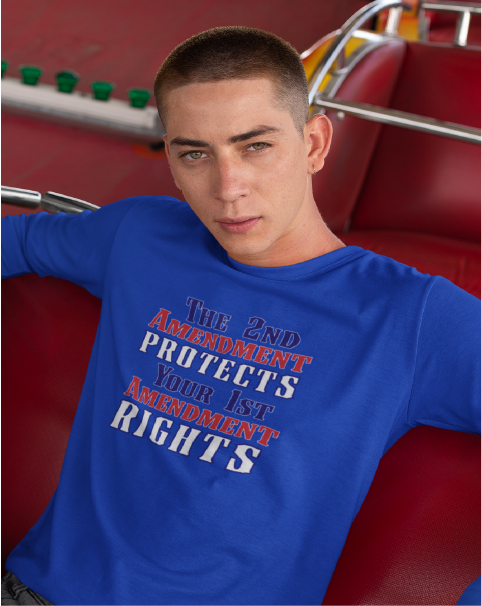 The 2nd Amendment Protects Your 1st Amendment Rights Men's Long Sleeve Tee