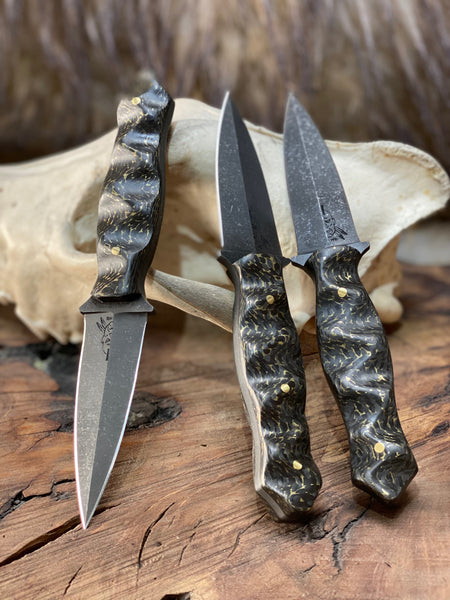 Trident dagger, brass infused carbon fiber, brass solid pins, textured,