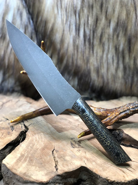 "Chef blade, 8"", brass infused lightning carbon fiber, carbon fiber pins,"