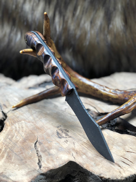 Hunter skinner blade, Hawaiian curly Koa wood, desert ironwood, black g10 liners, mosaic pins,