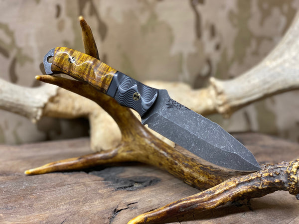 Disaster Jr blade, spalted maple burlwood, MAS grey and black G10 spacer and bolster, black g10 liners, brass lanyard pin,
