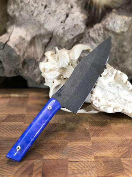 "Chef blade, 8"", blue resin with red pearl mix, smooth grip, stainless steel mosaic pins,"