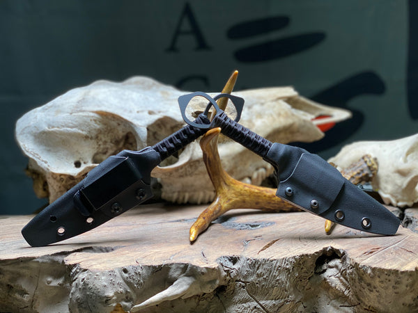 Alpha dagger, sniper grey cerakote, black paracord wrap,