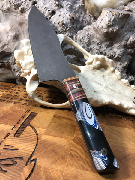 "Chef blade, 8"", skateboard deck bolster, Detroit agate in black resin, mosaic pins, black G10 liners,"