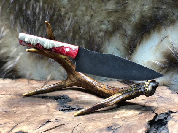 Chef blade jr, natural box else burlwood, red and pearl resin, white pins, black and red G10 liners,